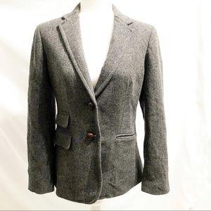 J. Crew Wool Herringbone Hacking Blazer Gray